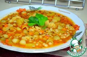 Рецепт Минестроне с фасолью, грудинкой, пастой и овощами