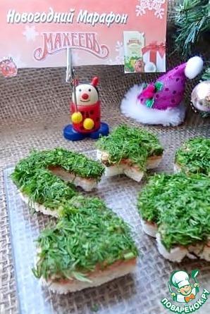 """Рецепт Фигурные мини-бутерброды """"Лосось в майонезе с укропом"""""""