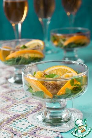Рецепт Рыбные рулетики с апельсиновыми дольками