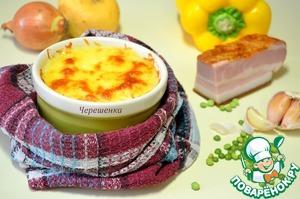 Рецепт Картофельные мини-запеканки с горохом, грудинкой и грибами