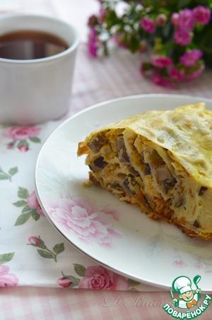 Рецепт Крученый пирог из лаваша с нутом, пореем и грибами