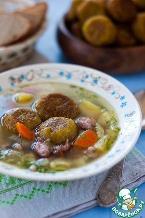 Рецепт Суп с копчеными ребрышками и гороховыми фрикадельками