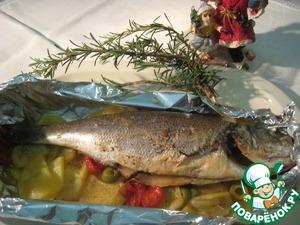 Готовим Запеченный сибас на овощной подушке домашний рецепт с фото пошагово