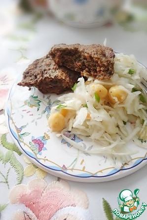 Рецепт Печеночно-фасолевые оладьи и нутово-капустный салат