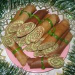 Рулетики из печени с начинкой