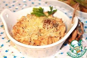 Рецепт Фасолевое рагу Утомленное в сливках с курочкой и белыми грибами