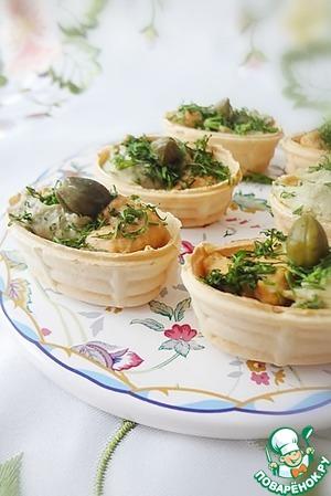 Рецепт Вафельные лукошки с разноцветной начинкой
