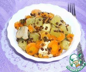 Рецепт Овощное рагу с мясом, чечевицей и курагой
