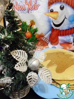 """Рецепт Блинчики """"Новогодний завтрак"""" с рисунком"""
