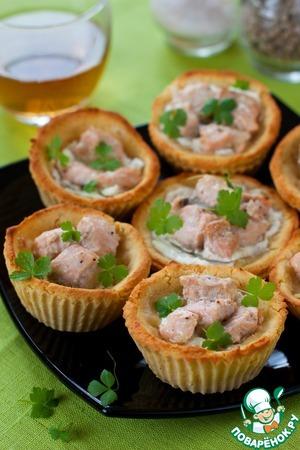 Рецепт Гороховые тарталетки с творожным сыром и форелью