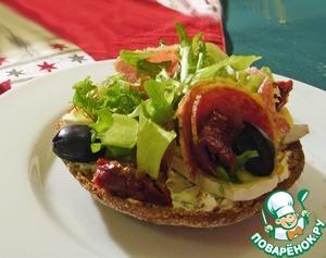 Рецепт Деликатесные бутерброды с салями и сыром бри