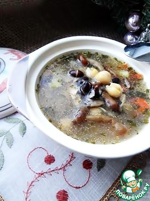 Рецепт Куриный грибной суп с фасолью и нутом