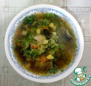 Рецепт Луковые щи с квашеной капустой и грибами