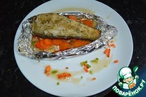 Рецепт Нототения в медовом маринаде на овощной подушке