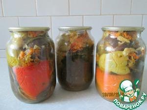 Рецепт Квашенные, фаршированные овошами перец болгарский и баклажаны