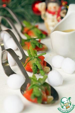 Рецепт Спаржа с красной рыбой и горчичным соусом