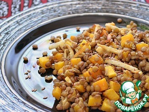Рецепт Теплый салат с чечевицей, тыквой и сельдереем