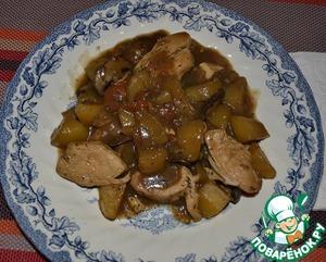 Рецепт Рагу с картофелем, шампиньонами и куриной грудинкой