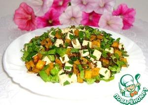 Рецепт Салат из чечевицы, тыквы, брынзы и зелени