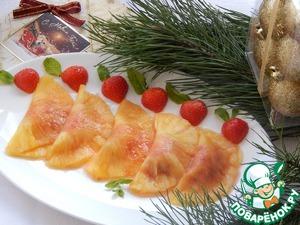 Рецепт Десерт для взрослых. Равиоли из ананаса, маринованного в коньяке