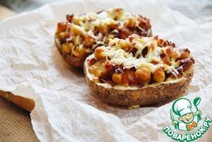 Рецепт Картошечка, начинённая нутом с вялеными томатами под сырной корочкой