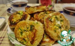 Рецепт Оладьи с зелёным луком и яйцом