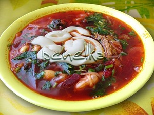 Kuban borsch with beans and prunes