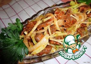 Рецепт Корейский салат из куриных желудков с редькой