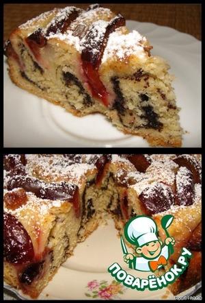 Маковый пирог со сливами
