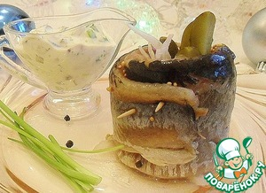 Рецепт Рулетики из сельди с соусом ремулад