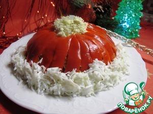 """Рецепт Салат """"Шапка деда Мороза"""" из языка с маринованной паприкой"""