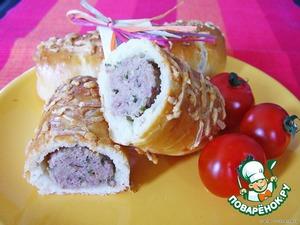 Рецепт Брабантские хлебцы с домашними колбасками или  Brabantse worstenbroodjes