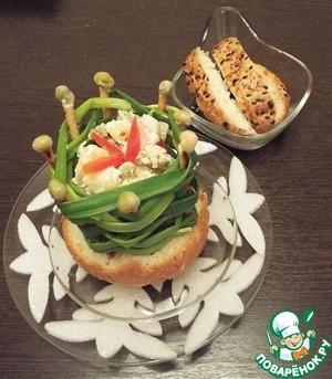 Рецепт Салат в луковой корзиночке