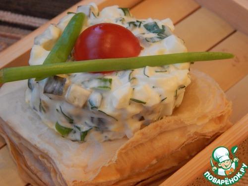 Слойки закусочные с яичным салатом – кулинарный рецепт