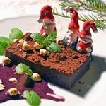 Шоколадное суфле с черничным кёрдом