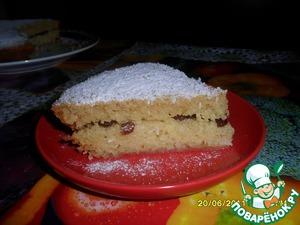 Рецепт Бисквит на манке с курагой, изюмом и кокосовой стружкой