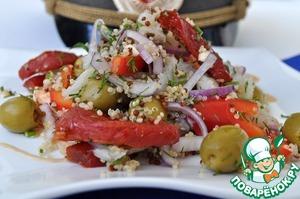 Рецепт Теплый салат из киноа, палтуса и вяленых помидор