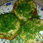 Кабачковые оладьи, запеченные с мясом и сыром