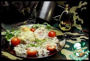 """Рецепт Запеченные корзиночки из индейки """"Золотые гранаты"""", заправленные ветчиной и сыром под сливочно-чесночным соусом"""