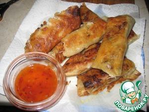 Рецепт Тесто для спринг-роллов и китайские роллы с мясом и грибами