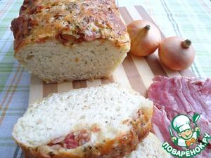 Рецепт Хлеб с жареным луком, беконом, сыром Чеддер и прованскими травами