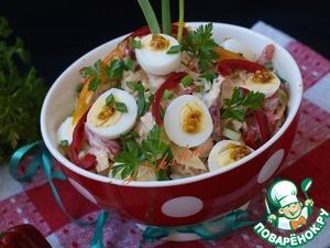 Рецепт Салат с савойской капустой, хурмой и перепелиными яйцами