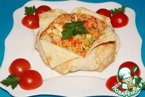"""Рецепт Салат с креветками, овощами и кускусом """"Вещмешок"""""""