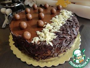 Рецепт Торт с муссом из горького шоколада и грушевым желе