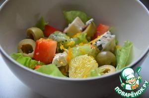 Рецепт Фруктово-овощной салат с пикантным сыром