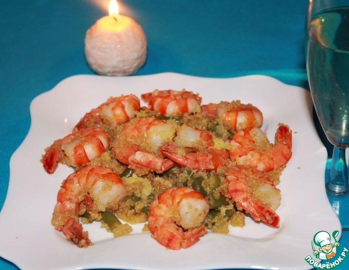 Рецепт: Теплый салат из киноа с креветками