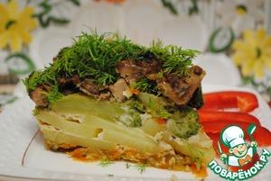 Рецепт Запеканка овощная с куриной печенью