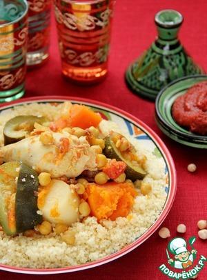 Рецепт Кускус по-мароккански с курицей, овощами и мясными тефтелями