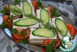 Рецепт Пирожные закусочные печеночные, с начинкой из риса и сливочно чесночного соуса