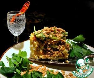Рецепт Рисовая запеканка (пирог) с мясом и луком-пореем